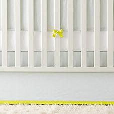 Banded Linen Crib Skirt – Aqua/Citron