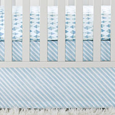 Aqua Candy Stripe Crib Skirt