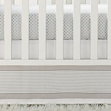 Yacht Stripe Crib Skirt – Sage