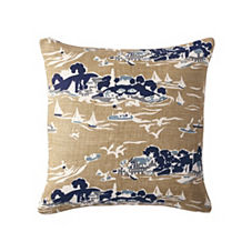 Skylake Toile Pillow Cover - Khaki
