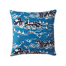Skylake Toile Pillow Cover - Atlantic Blue