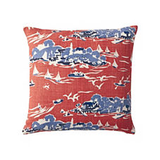 Skylake Toile Pillow Cover - Tomato Red