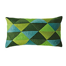 Embroidered Triangle Pillow Cover – Green Multi