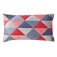Embroidered Triangle Pillow Cover – Pink Multi