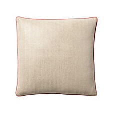 Metallic Herringbone Pillow Cover – Silver/Coral
