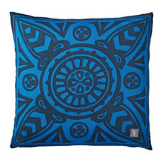 Cobalt Scarf Print Outdoor Pillow