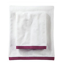 Border Frame Bath Towels – Berry