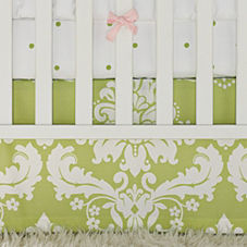 Kate Sprout Damask Crib Skirt