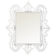 Peacock Scroll Mirror – White