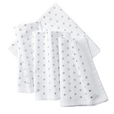 Pin Dot Napkins – Metallic Silver (Set of 4)