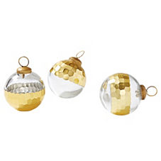 Plated Glass Ornaments – Gold (S/3)
