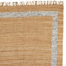 Jute Border Rug – Metallic Silver