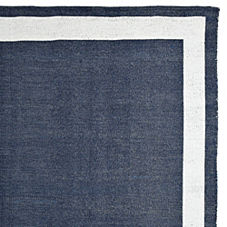 Outdoor Border Rug – Navy/White