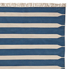 Indigo Paddle Stripe Cotton Dhurrie