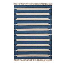 Paddle Stripe Cotton Dhurrie – Indigo