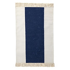 Navy Broad Stripe Bath Dhurrie