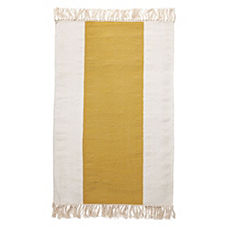 Mustard Broad Stripe Bath Dhurrie