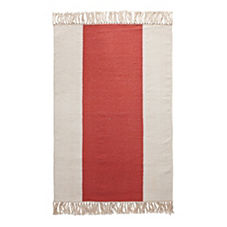 Coral Broad Stripe Bath Dhurrie