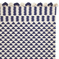 Navy/Ivory Zig Cotton Dhurrie Rug
