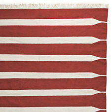 Paddle Stripe Cotton Dhurrie – Red