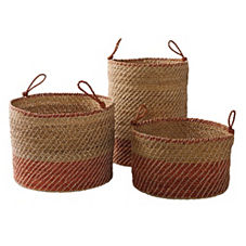 Laguna Seagrass Baskets – Orange (Set of 3)