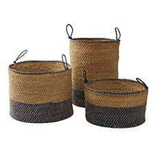 Laguna Seagrass Baskets – Navy (Set of 3)