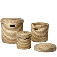 Nantucket Lidded Baskets – Natural (Set of 3)