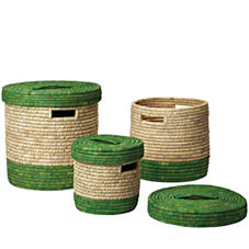 Nantucket Lidded Baskets – Grass (Set of 3)