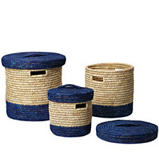 Nantucket Lidded Baskets – Navy (Set of 3)