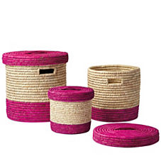 Nantucket Lidded Baskets – Fushsia (Set of 3)