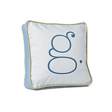 Sprout/Indigo Typewriter Letter Pillow