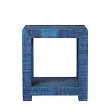 Blake Raffia Side Table – Navy