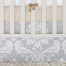 Tess Dove Damask Crib Skirt
