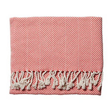 Coral Herringbone Throw