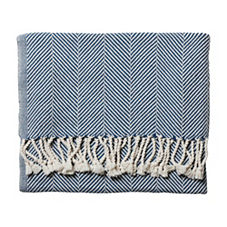 Brahams Mount Herringbone Throw – Indigo