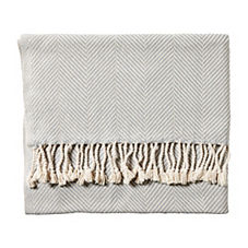 Brahms Mount Herringbone Throw – Dove Grey