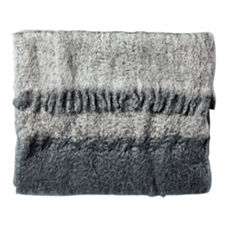 Charcoal Mohair Whipstitched Throw