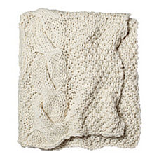 Alicia Adams Alpaca Chunky Knit Throw – Ivory