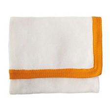 Knit Border Throw - Tangerine