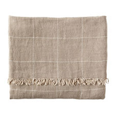 Linen Windowpane Throw - Bark