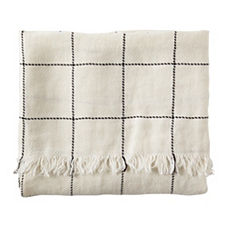 Linen Windowpane Throw – Ivory