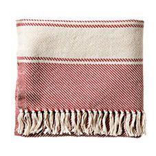 Brahams Mount Banded Herringbone Throw – Tomato