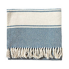 Brahms Mount Banded Herringbone Throw – Denim