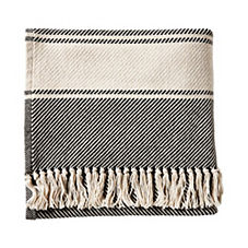 Banded Herringbone Throw – Black
