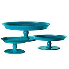 Round Pedestal Trays – Teal