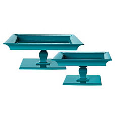 Square Pedestal Trays - Teal