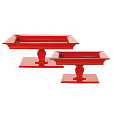 Square Pedestal Trays - Flame