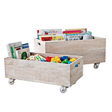 Rolling Storage Crates – Whitewashed