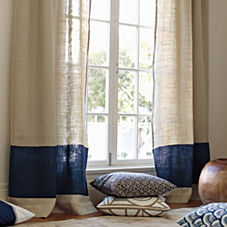 Burlap Color Block Window Panel - Navy