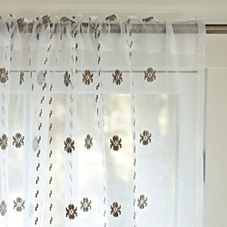 Bella Embroidered Window Panel - Bark